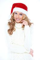Pretty happy woman celebrating Christmas
