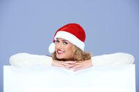 Pretty Santa Woman Smiling Over White Board