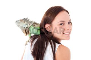 Girl with an iguana