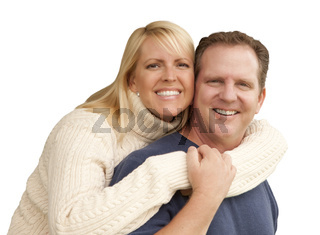 Happy Attractive Couple Hugging Isolated on White