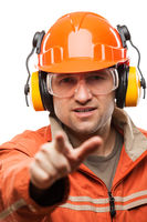 Engineer or manual worker man in safety hardhat he