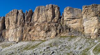 panorama landscape with mountain peak at italian alps dolomites