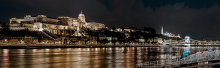 Panorama of Royal Palace or Buda Castle at night. Budapest, Hungary