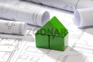Baupläne und Bauklötzchen Haus