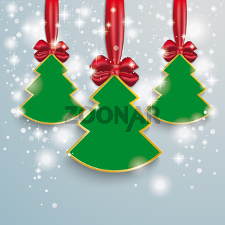 3 Christmass Tree Snow Lights Red Ribbon