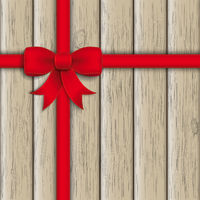 Red Ribbon Ash Wooden Background