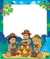 Children scouts thematic frame 1 - picture illustration.