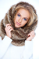 Gorgeous blue eyed woman in winter fashion