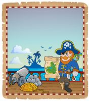 Parchment with pirate ship deck 3 - picture illustration.
