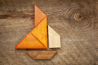 abstract sailboat from tangram puzzle