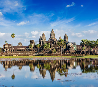 Cambodia landmark Angkor Wat with reflection in water