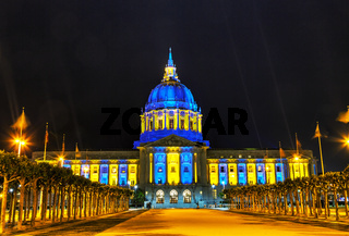 San Francisco city hall at night time