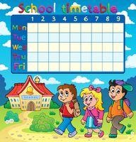 School timetable composition 5 - picture illustration.