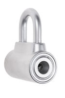 chrome metal padlock isolated