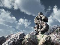 dollarzeichen aus stein - 3d illustration