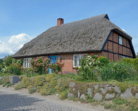 traditional House with thatched Roof,Ruegen island