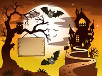 Theme with Halloween silhouette 3 - picture illustration.