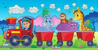 Train with animals in landscape - picture illustration.