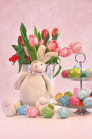 Easter bunny pink tulips and eggs