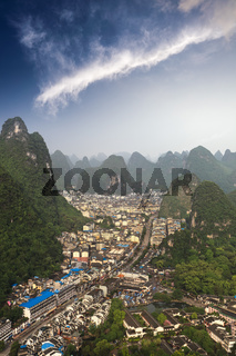 aerial view of the yangshuo county