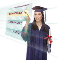 Young Female Graduate Choosing Technology Button on Translucent Panel