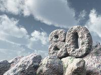 nummer achtzig aus stein - 3d illustration