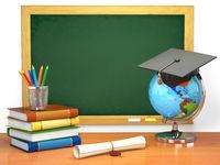 School education concept. Mortar board, blackboard, books, globe and pencils.