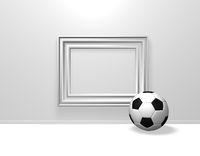 fußball und weißer leerer bilderrahmen - 3d illustration