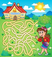 Maze 4 with schoolgirl - picture illustration.