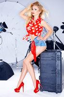 Model Wearing Short Jean Shorts in Photo Studio