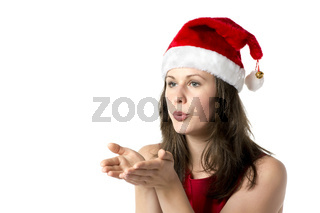 Santa woman with hands at face