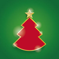 Christmas Tree Golden Star Green Background