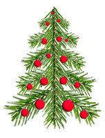Fir tree made of fir branches with red balls