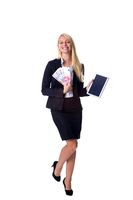 Blonde holds money in hand and Tablet