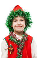 Little smiling child boy in gnome or elf costume