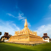Golden buddhist pagoda of Phra That Luang Temple