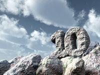 nummer zehn aus stein - 3d illustration