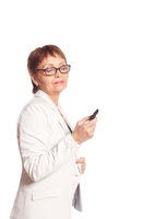 attractive woman 50 years speaks by mobile phone