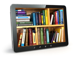 E-learning.  Tablet pc and textbooks. Education online.