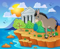 Cute donkey on shore - picture illustration.