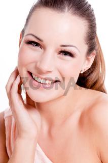 natural beautiful woman face closeup portrait