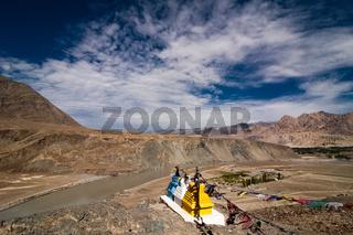 Himalaya mountain  with Buddhist stupas