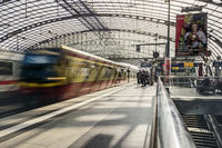 Platform in Berlin Central Station with retracting