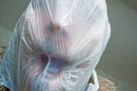 plastic bag, man, face