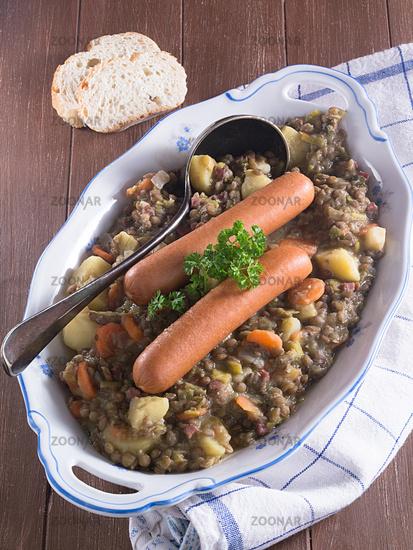 Lentil soup with sausages
