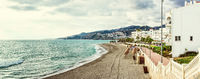Panorama of empty beach. Nerja, Spain