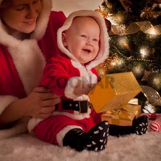 Christmas baby and mom