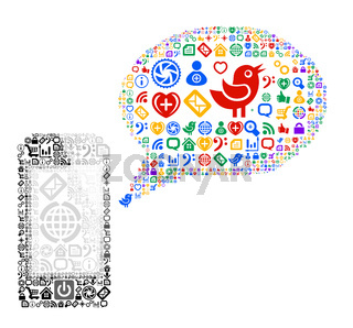 Icon group as speech bubble cloud