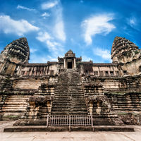 Ancient Khmer architecture. Angkor Wat temple under blue sky, Reap, Cambodia