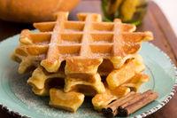 pumpkin waffles with cinnamon sugar